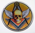 Mason Skull Round Domed 3D Chrome Background Adhesive Car Badge