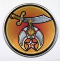 Shriner Domed 3D Chrome Background Adhesive Car Badge