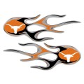 Texas Longhorns Domed Flame Decals PAIR
