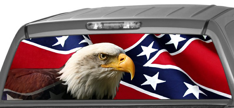 Rwg Rebel Flag With Eagle Rear Window See Thru Graphic