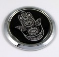 Hamsa Round 3D Chrome Car Emblem