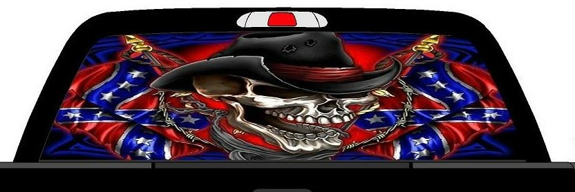 Rwg Rebel Flag Cowboy Skull Rear Window See Thru Graphic
