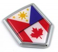 Canada Philippine Flag Crest Car Badge
