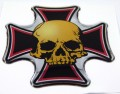 Maltese Skull Domed 3D Chrome Background Adhesive Car Badge