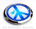 Peace Symbol with Dove Decal  Car Badge