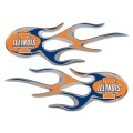 Illinois Fighting Illini Domed Flame Decals PAIR
