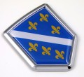 Bosnia Old Style 3D Adhesive Flag Crest Chrome Car Emblem
