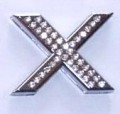 Crystal Letter Silver - X