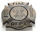 Fire Department Crest Black and Chrome Emblem Car Badge