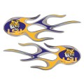 LSU Tigers Domed Flame Decals PAIR
