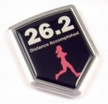 Distance Accomptlished Woman Shield 3D Running Chrome Emblem Car Badge