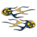 Georgia Tech Yellow Jackets Domed Flame Decals PAIR