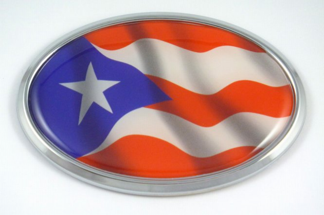 Puerto Rico Oval Flag 3d Chrome Emblem Car Badge