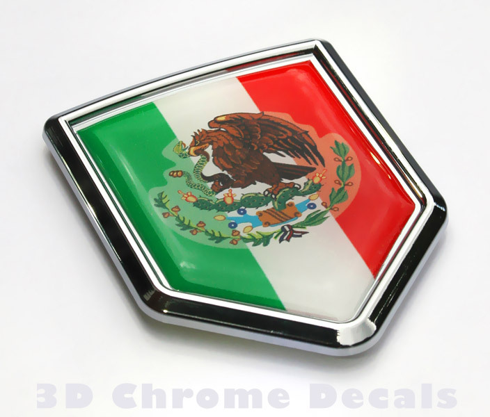 Mexican Flag Crest Car Badge Seethrugraphics And Chrome