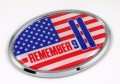 Remember 911 OVAL 3D Chrome Car Emblem