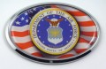 Air Force with USA Flag Oval Chrome Oval 3D Domed Car Badge