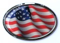 USA Oval Flag Wave Triple Chrome Plated Adhesive Emblem