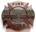 Fire Department Crest Red and Chrome Emblem Car Badge