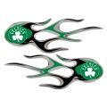 Boston Celtics Domed Flame Decals PAIR