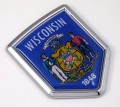 Wisconsin Flag Crest Car Badge