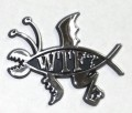 WTF Chrome Fish Emblem Car Badge